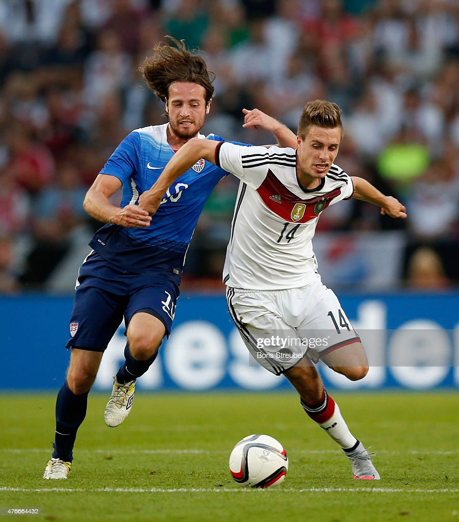 Mikkel Diskerud of the USA challenges Sebastian Rudy of Germany during the International Friendly match between Germany and USA at...