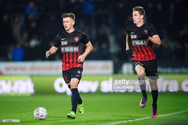 Mikkel Duelund and Jonas Borring of FC Midtjylland in action during the Danish Alka Superliga match between FC Midtjylland and Lyngby BK at MCH Arena...