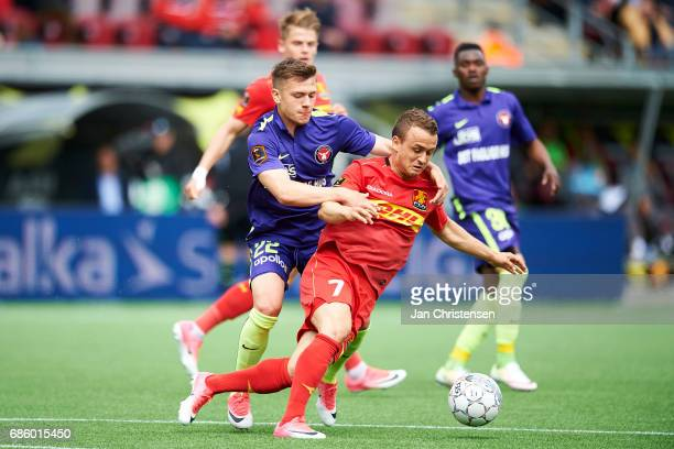 Mikkel Duelund of FC Midtjylland and Stanislav Lobotka of FC Nordsjalland compete for the ball during the Danish Alka Superliga match between FC...