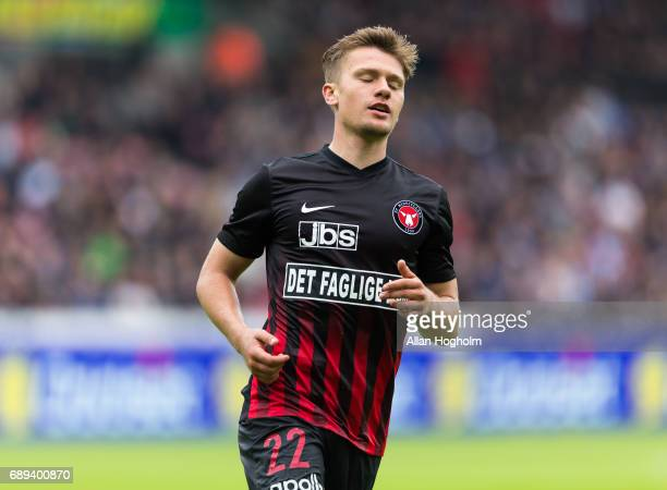 Mikkel Duelund of FC Midtjylland looks dejected during the Danish Alka Superliga match between FC Midtjylland and Lyngby BK at MCH Arena on May 28...