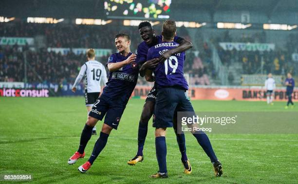 Mikkel Duelund Paul Onuachu and Alexander Sorloth of FC Midtjylland celebrate after scoring their fourth goal during the Danish Alka Superliga match...