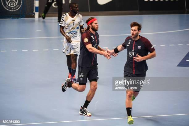 Mikkel Hansen and Uwe Gensheimer of PSG celebrates during Lidl StarLigue match between Paris Saint Germain and Massy on September 20 2017 in Paris...