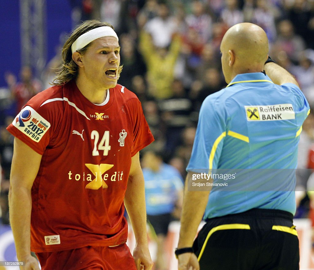 Mikkel Hansen argues with the referee during the Men's European Handball Championship 2012 group A match between Serbia and Denmark at Pionir Arena on January 17, 2011 in Belgrade, Serbia.