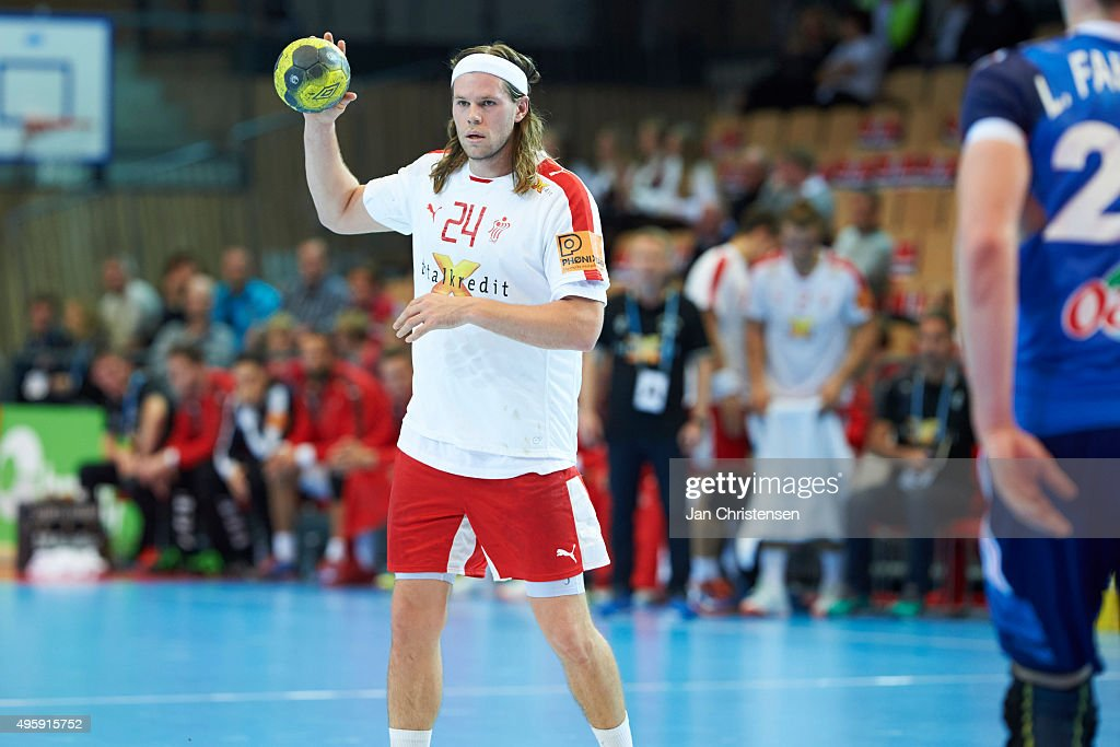 <a gi-track='captionPersonalityLinkClicked' href=/galleries/search?phrase=Mikkel+Hansen&family=editorial&specificpeople=5491088 ng-click='$event.stopPropagation()'>Mikkel Hansen</a> of Denmark in action during the Golden League match between Denmark and France in Nadderud Arena on November 05, 2015 in Oslo, Norway.