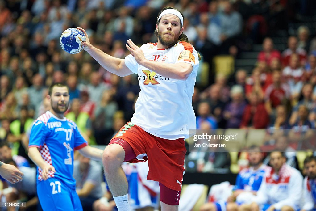 <a gi-track='captionPersonalityLinkClicked' href=/galleries/search?phrase=Mikkel+Hansen&family=editorial&specificpeople=5491088 ng-click='$event.stopPropagation()'>Mikkel Hansen</a> of Denmark in action during the IHF 2016 Men's Olympic Qualification Tournament match between Denmark and Croatia at Jyske Bank Boxen on April 08 2016 in Herning Denmark.