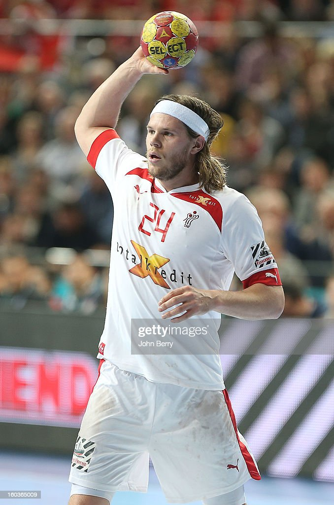 Mikkel Hansen of Denmark in action during the Men's Handball World Championship 2013 final match between Spain and Denmark at Palau Sant Jordi on January 27, 2013 in Barcelona, Spain.