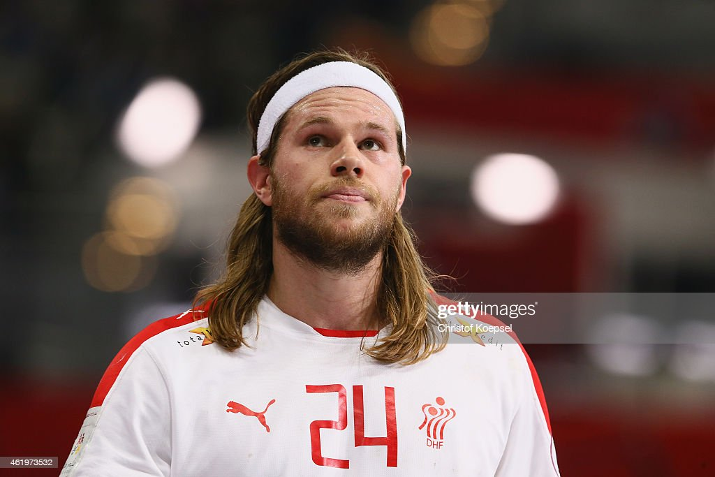 <a gi-track='captionPersonalityLinkClicked' href=/galleries/search?phrase=Mikkel+Hansen&family=editorial&specificpeople=5491088 ng-click='$event.stopPropagation()'>Mikkel Hansen</a> of Denmark looks on during the IHF Men's Handball World Championship group D match between Russia and Denmark at Lusail Multipurpose Hall on January 22, 2015 in Doha, Qatar.