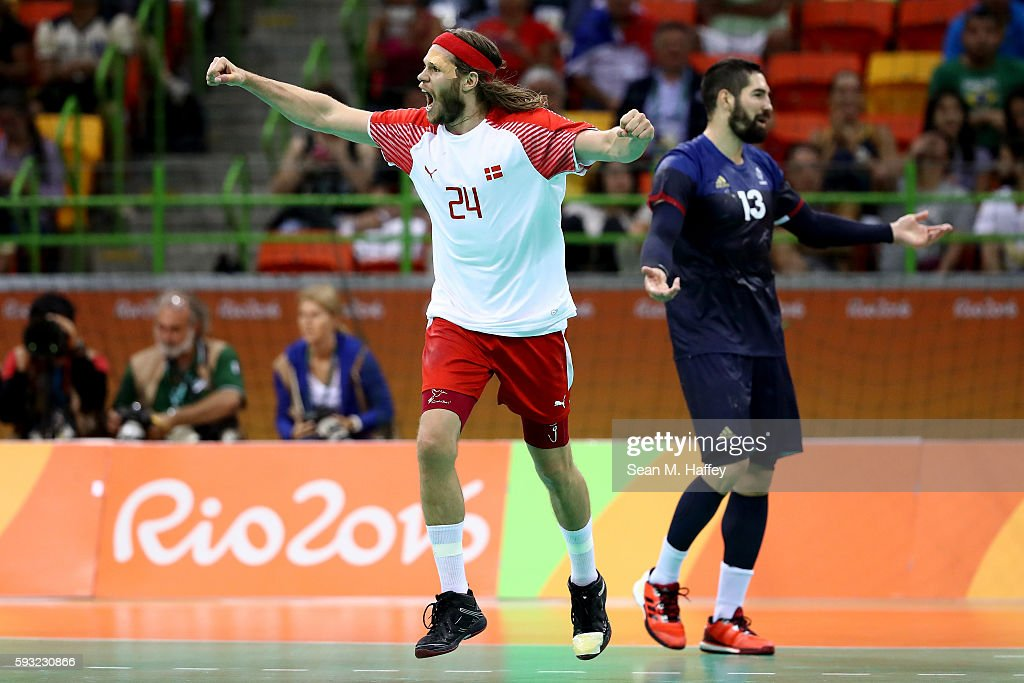 Mikkel Hansen of Denmark reacts during the first half against France in the Men's Gold Medal Match between Denmark and France on Day 16 of the Rio...