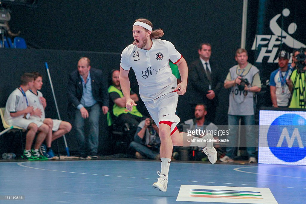 <a gi-track='captionPersonalityLinkClicked' href=/galleries/search?phrase=Mikkel+Hansen&family=editorial&specificpeople=5491088 ng-click='$event.stopPropagation()'>Mikkel Hansen</a> #24 of Paris Saint-Germain Handball reacts after a play during the Coupe de France National Men's Final game between HBC Nantes and Paris Saint-Germain Handball at Stade Pierre de Coubertin on April 26, 2015 in Paris, France.