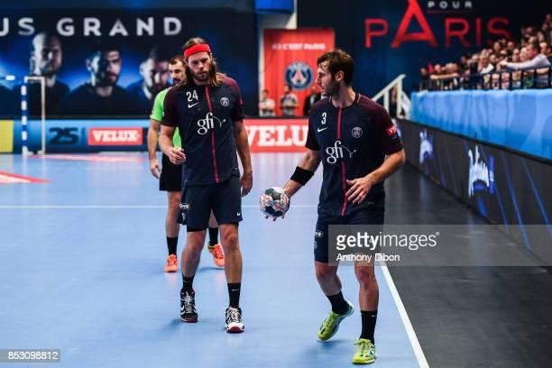 Mikkel Hansen of PSG and Uwe Gensheimer of PSG during champions League match between Paris SaintGermain and Brest on September 24 2017 in Paris France