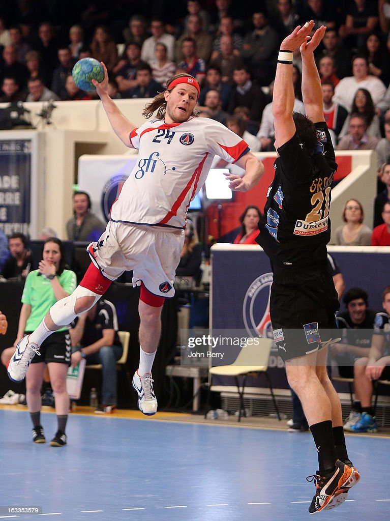 Mikkel Hansen of PSG Handball in action during the handball's Division 1 match between Paris Saint-Germain Handball and Dunkerque at the Stade Pierre de Coubertin on March 7, 2013 in Paris, France.