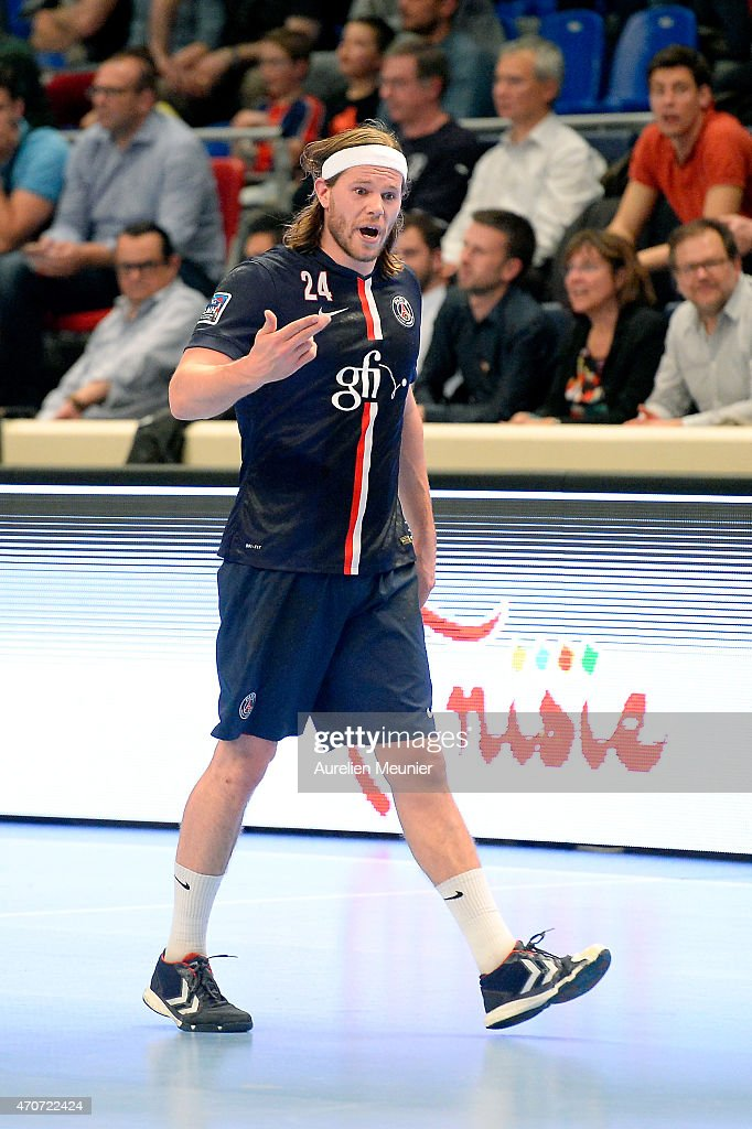 <a gi-track='captionPersonalityLinkClicked' href=/galleries/search?phrase=Mikkel+Hansen&family=editorial&specificpeople=5491088 ng-click='$event.stopPropagation()'>Mikkel Hansen</a> of PSG reacts during the Division 1 handball game between Paris Saint Germain and Creteil at Stade Pierre de Coubertin on April 22, 2015 in Paris, France.