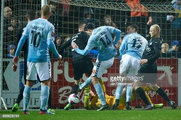 Mikkel Hedegaard of SonderjyskE kick the 10 goal during the Danish Alka Superliga match between SonderjyskE and Randers FC at Sydbank Park on March...