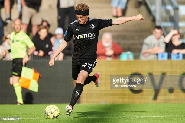 Mikkel Kallesoe of Randers FC controls the ball during the Danish Alka Superliga match between SonderjyskE and Randers FC at Sydbank Park on July 15...