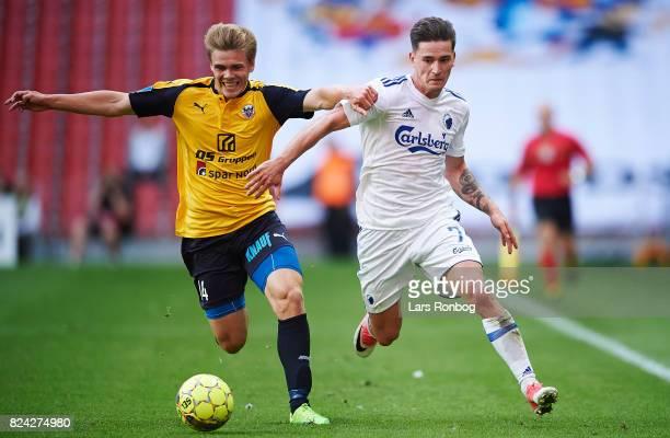Mikkel M Pedersen of Hobro IK and Benjamin Verbic of FC Copenhagen compete for the ball during the Danish Alka Superliga match between FC Copenhagen...