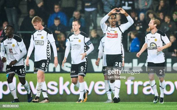 Mikkel Qvist of AC Horsens celebrates after scoring their first goal during the Danish Alka Superliga match between FC Midtjylland and AC Horsens at...