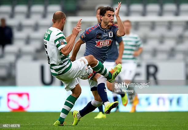 Mikkel Rask of Viborg FF and Mate Vatsadze of AGF Aarhus compete for the ball during the Danish Alka Superliga match between Viborg FF and AGF Aarhus...