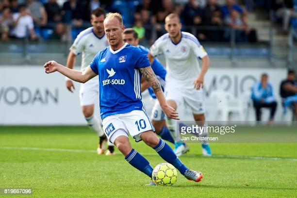 Mikkel Rygaard of Lyngby BK score for 10 by penalty kick during the UEFA Europa League Qualification match between Lyngby BK and Slovan Bratislava at...
