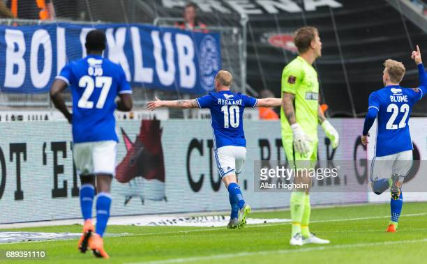 Mikkel Rygaard of Lyngby Boldklub celebrates after scoring their second goal during the Danish Alka Superliga match between FC Midtjylland and Lyngby...