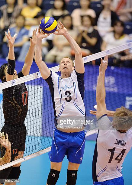 Mikko Esko of Finland in action during the FIVB World League Pool C match between Japan and Finland at Komaki Park Arena on June 16 2013 in Komaki...