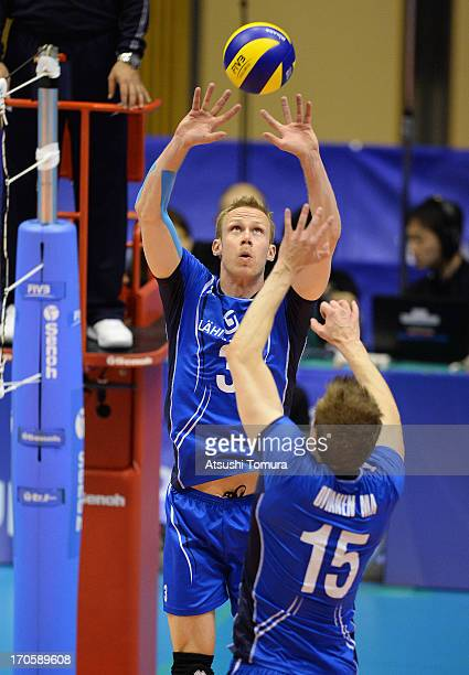Mikko Esko of Finland tosses the ball during the FIVB World League Pool C match between Japan and Finland at Park Arena Komaki on June 15 2013 in...