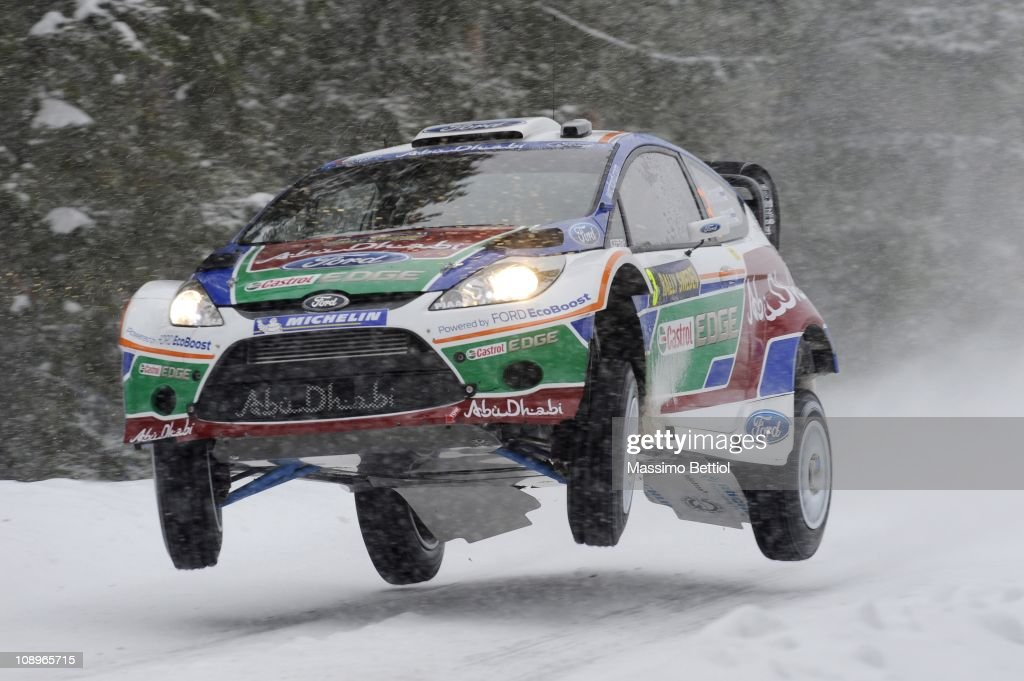 Mikko Hirvonen of Finland and Jarmo Lehtinen of Finland compete in their Ford Abu Dhabi World Rally Team Ford Fiesta RS WRC during the Shakedown of the WRC Rally of Sweden on February 10, 2011 in Karlstad, Sweden.