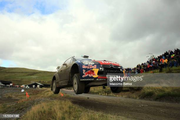 Mikko Hirvonen of Finland and Jarmo Lehtinen of Finland compete in their Citroen Total WRT Citroen DS3 WRC during Day One of the WRC Wales Rally GB...