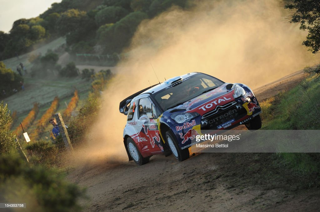 Mikko Hirvonen of Finland and Jarmo Lehtinen of Finland compete in their Citroen Total WRT Citroen DS3 WRC during the Shakedown of the WRC Italy on October 18, 2012 in Olbia ,Italy.