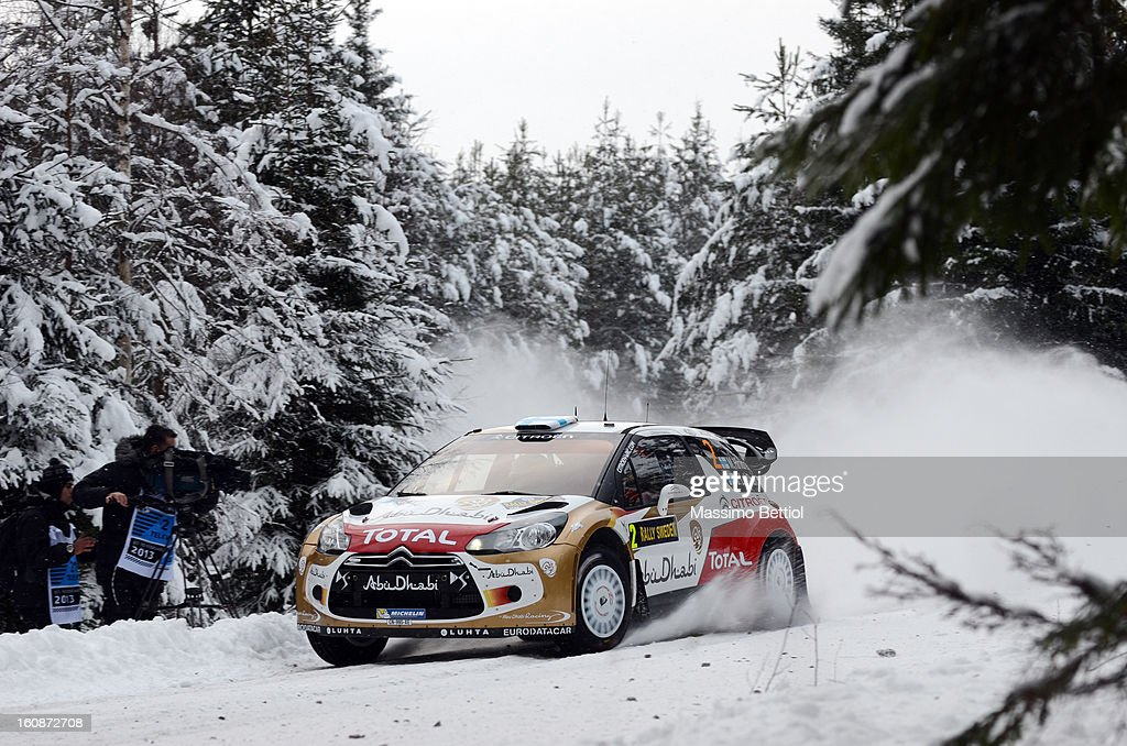 <a gi-track='captionPersonalityLinkClicked' href=/galleries/search?phrase=Mikko+Hirvonen&family=editorial&specificpeople=209287 ng-click='$event.stopPropagation()'>Mikko Hirvonen</a> of Finland and <a gi-track='captionPersonalityLinkClicked' href=/galleries/search?phrase=Jarmo+Lehtinen&family=editorial&specificpeople=233451 ng-click='$event.stopPropagation()'>Jarmo Lehtinen</a> of Finland compete in their Citroen Total Abu Dhabi WRT Citroen DS3 WRC during the Shakedown of the WRC Sweden on February 07, 2013 in Karlstad, Sweden.