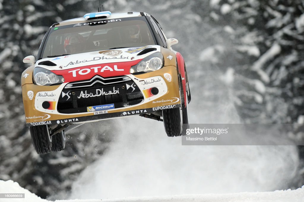Mikko Hirvonen of Finland and Jarmo Lehtinen of Finland compete in their Citroen Total Abu Dhabi WRT Citroen DS3 WRC during Day One of the WRC Sweden...