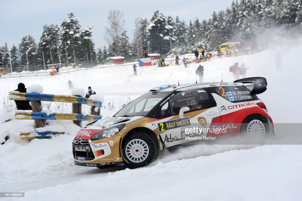 <a gi-track='captionPersonalityLinkClicked' href=/galleries/search?phrase=Mikko+Hirvonen&family=editorial&specificpeople=209287 ng-click='$event.stopPropagation()'>Mikko Hirvonen</a> of Finland and <a gi-track='captionPersonalityLinkClicked' href=/galleries/search?phrase=Jarmo+Lehtinen&family=editorial&specificpeople=233451 ng-click='$event.stopPropagation()'>Jarmo Lehtinen</a> of Finland compete in their Citroen Total Abu Dhabi WRT Citroen DS3 WRC during Day Two of the WRC Sweden on February 09 , 2013 in Karlstad , Sweden.