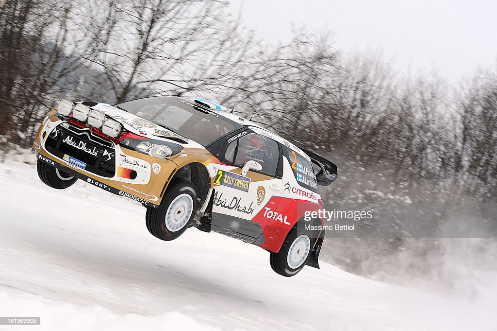 Mikko Hirvonen of Finland and Jarmo Lehtinen of Finland compete in their Citroen Total Abu Dhabi WRT Citroen DS3 WRC during Day Three of the WRC Sweden on February 10 , 2013 in Karlstad , Sweden.