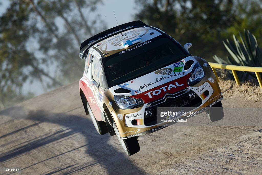 <a gi-track='captionPersonalityLinkClicked' href=/galleries/search?phrase=Mikko+Hirvonen&family=editorial&specificpeople=209287 ng-click='$event.stopPropagation()'>Mikko Hirvonen</a> of Finland and <a gi-track='captionPersonalityLinkClicked' href=/galleries/search?phrase=Jarmo+Lehtinen&family=editorial&specificpeople=233451 ng-click='$event.stopPropagation()'>Jarmo Lehtinen</a> of Finland compete in their Citroen Total Abu Dhabi WRT Citroen DS3 WRC during Day Two of the WRC Mexico on March 09, 2013 in Leon, Mexico.