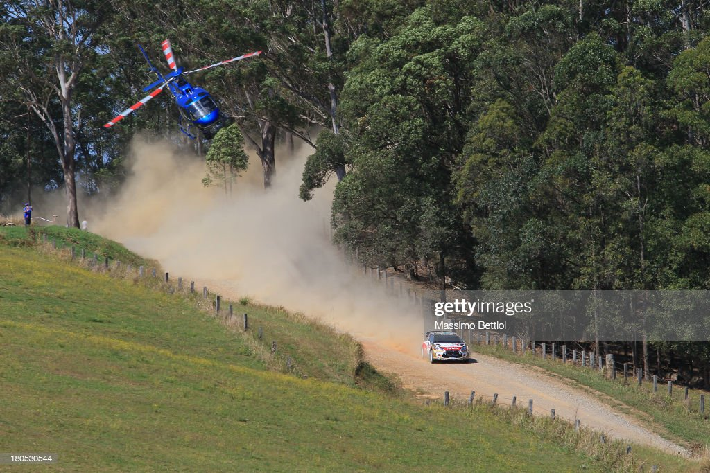 Mikko Hirvonen of Finland and Jarmo Lehtinen of Finland compete in their Citroen Total Abu Dhabi WRT Citroen DS3 WRC during Day Two of the WRC Australia on September 14, 2013 in Coffs Harbour, Australia.