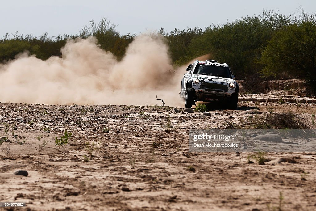 Mikko Hirvonen of Finland and Michel Perin of France in the MINI ALL4 RACING for AXION X-RAID TEAM compete on day 10 stage 9 during the 2016 Dakar Rally on January 12, 2016 in near Belen, Argentina.