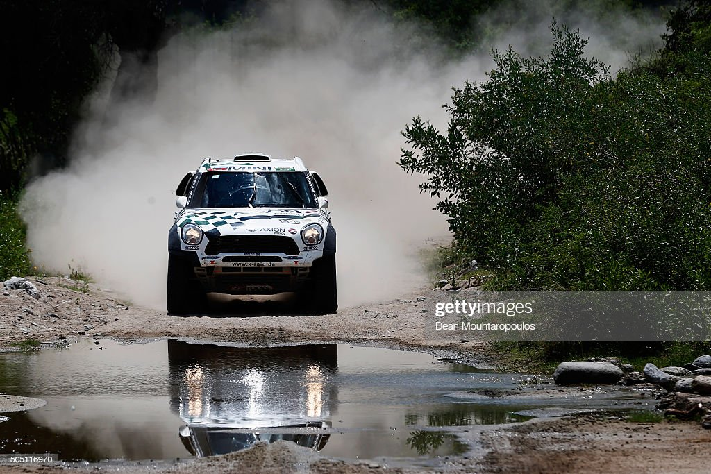 Mikko Hirvonen of Finland and Michel Perin of France in the MINI ALL4 RACING for AXION X-RAID TEAM compete on day 13 / stage twelve between San Juan to Villa Carlos Paz during the 2016 Dakar Rally on January 15, 2016 near Serrezuela, Argentina.