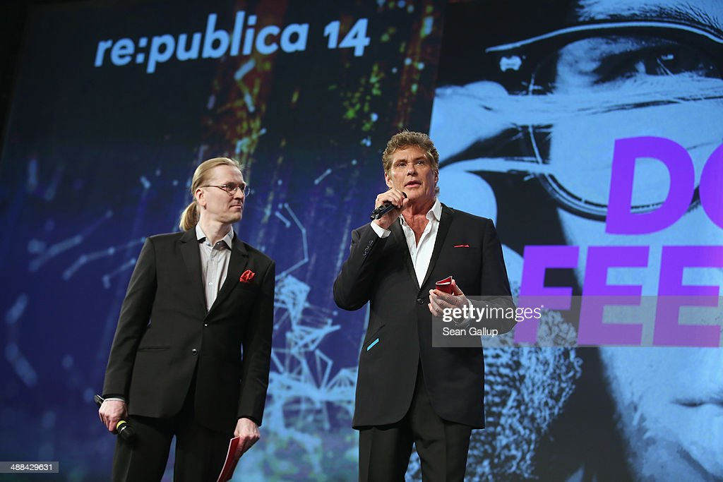 Mikko Hypponen (L), Chief Research Officer at F-Secure, and U.S. actor David Hasselhoff speak at the 2014 re:publica conferences on digital society on May 6, 2014 in Berlin, Germany. The conference brings together bloggers, developers, human rights activists and others to discuss the course of the digital future. Re:publica will run until May 8.