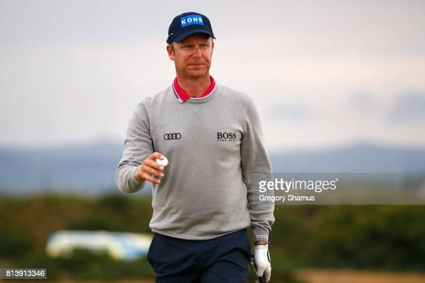 Mikko Ilonen of Finland acknowledges the crowd on the 7th green during day one of the AAM Scottish Open at Dundonald Links Golf Course on July 13...