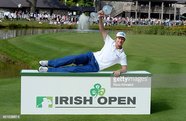 Mikko Ilonen of Finland celebrates with the winners trophy after the final round of the Irish Open at the Fota Island Resort on June 22 2014 in Cork...