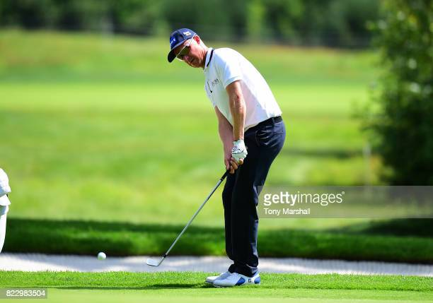 Mikko Ilonen of Finland chips on to the 3rd Green during the Porsche European Open Pro Am at Green Eagle Golf Course on July 26 2017 in Hamburg...