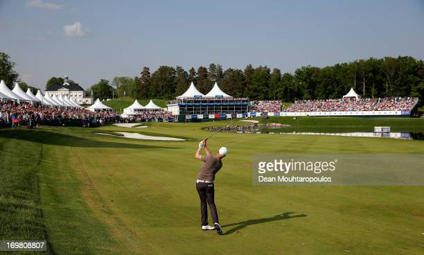 Mikko Ilonen of Finland hits his second or final approach shot on the 18th hole during the Final Round of the Nordea Scandinavian Masters at Bro Hof...