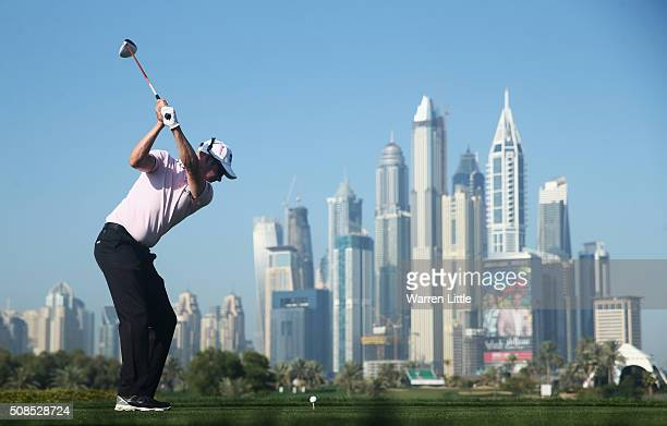 Mikko Ilonen of Finland hits his tee shot on the 8th hole during the second round of the Omega Dubai Desert Classic at the Emirates Golf Club on...
