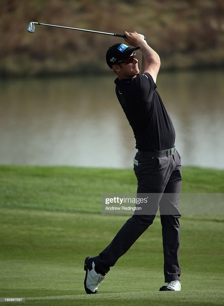 Mikko Ilonen of Finland in action during the final round of the BMW Masters at Lake Malaren Golf Club on October 27, 2013 in Shanghai, China.