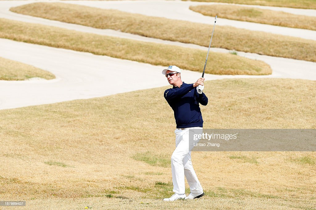 Mikko Ilonen of Finland plays a shot during the first day of the Volvo China Open at Binhai Lake Golf Course on May 2, 2013 in Tianjin, China.