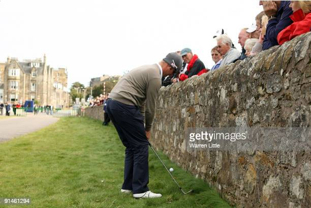 Mikko Ilonen of Finland plays away from the wall on the 17th hole during the final round of The Alfred Dunhill Links Championship at The Old Course...