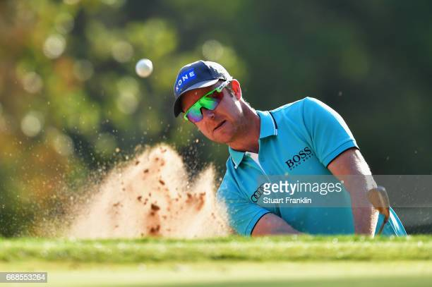 Mikko Ilonen of Finland plays from a bunker during day 2 of the Trophee Hassan II at Royal Golf Dar Es Salam on April 14 2017 in Rabat Morocco