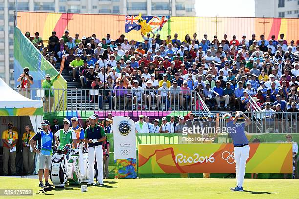 Mikko Ilonen of Finland plays his shot from the first tee on Day 9 of the Rio 2016 Olympic Games at the Olympic Golf Course on August 14 2016 in Rio...