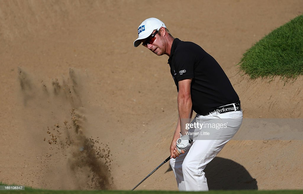Mikko Ilonen of Finland plays out of the 16th greenside bunker during the third round of the Trophee du Hassan II at Golf du Palais Royal on March 30, 2013 in Agadir, Morocco.