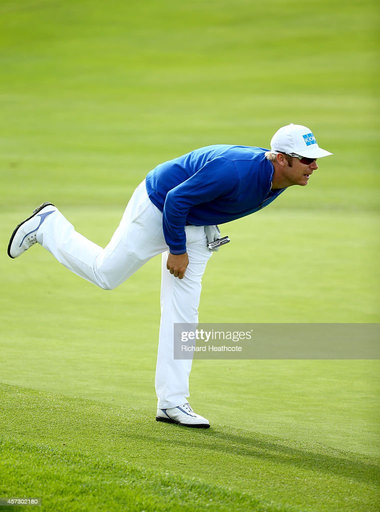 <a gi-track='captionPersonalityLinkClicked' href=/galleries/search?phrase=Mikko+Ilonen&family=editorial&specificpeople=215042 ng-click='$event.stopPropagation()'>Mikko Ilonen</a> of Finland reacts to a putt on the 6th green during his first round match against Graeme McDowell of Northern Ireland at the Volvo World Matchplay Championship at The London Club on October 16, 2014 in Ash, England.