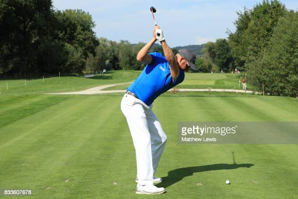 Mikko Ilonen of Finland tees off on the 11th hole during round one of the Saltire Energy Paul Lawrie Matchplay at Golf Resort Bad Griesbach on August...